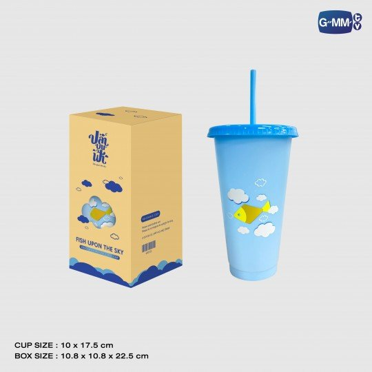 FISH UPON THE SKY COLOUR CHANGING COLD CUP | แก้วน้ำเปลี่ยนสีปลาบนฟ้า